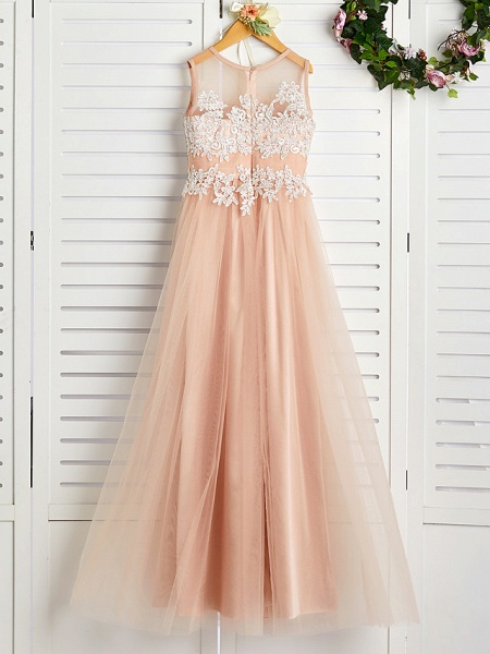 A-Line Jewel Neck Sweep / Brush Train Lace / Tulle Junior Bridesmaid Dress With Appliques_2