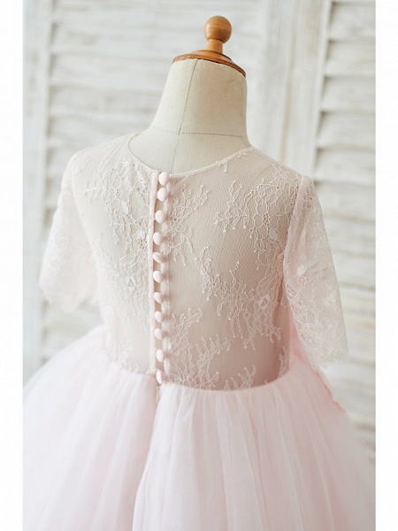 Ball Gown Knee Length Wedding / Birthday Flower Girl Dresses - Lace / Tulle Sleeveless Jewel Neck With Petal / Pearls_4
