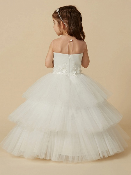 Ball Gown Floor Length Wedding / First Communion Flower Girl Dresses - Satin / Tulle Sleeveless Illusion Neck With Buttons / Flower_2