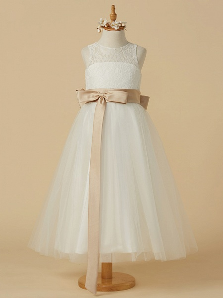 A-Line Ankle Length Wedding / First Communion Flower Girl Dresses - Lace / Tulle Sleeveless Jewel Neck With Sash / Ribbon / Bow(S) / Pleats_1