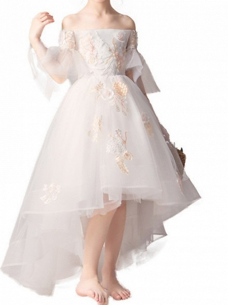 A-Line Asymmetrical Pageant Flower Girl Dresses - Polyester Half Sleeve Off Shoulder With Appliques_5