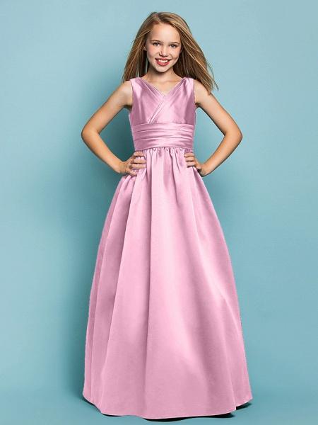 Princess / A-Line V Neck Floor Length Satin Junior Bridesmaid Dress With Sash / Ribbon / Criss Cross / Spring / Summer / Fall / Apple / Hourglass_10