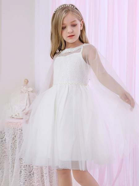Princess / Two Piece / Ball Gown Medium Length Wedding / Event / Party Flower Girl Dresses - Lace / Satin / Tulle Sleeveless Jewel Neck With Pearls / Beading / Solid_3