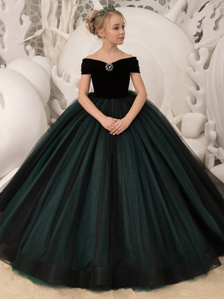 Princess / Ball Gown Sweep / Brush Train Wedding / Party Flower Girl Dresses - Tulle / Velvet Long Sleeve Off Shoulder With Bow(S) / Crystal Brooch_1