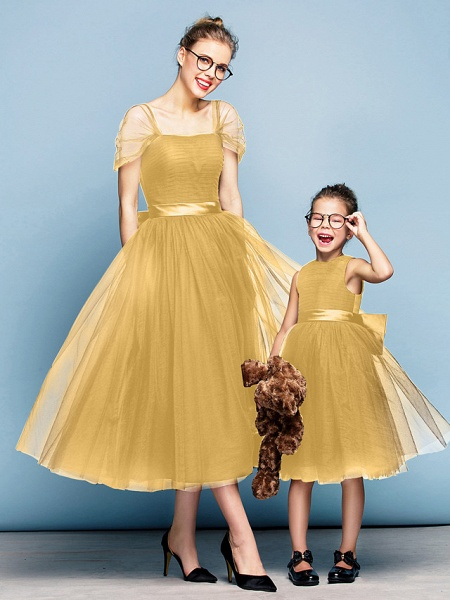 Princess Tea Length Party / Prom / Formal Evening Flower Girl Dresses - Tulle Short Sleeve Square Neck With Bow(S) / Ruched / Elegant_22