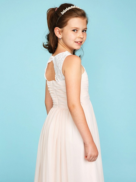 Princess / A-Line Strap Floor Length Chiffon / Lace Junior Bridesmaid Dress With Ruched / Side-Draped / Wedding Party_6