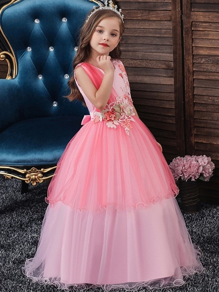 Princess / Ball Gown Floor Length Wedding / Party Flower Girl Dresses - Tulle Sleeveless Jewel Neck With Bow(S) / Appliques_1