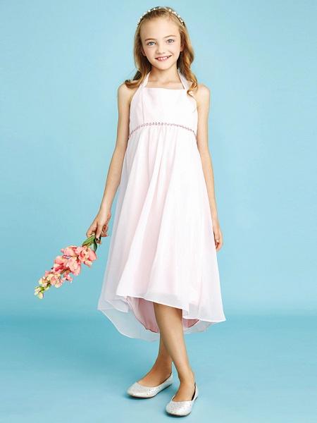 Sheath / Column Halter Neck Asymmetrical Chiffon Junior Bridesmaid Dress With Bow(S) / Beading / Natural_4
