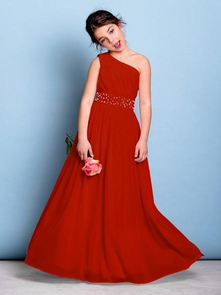 A-Line One Shoulder Floor Length Chiffon Junior Bridesmaid Dress With Sash / Ribbon / Beading / Side Draping / Natural_14