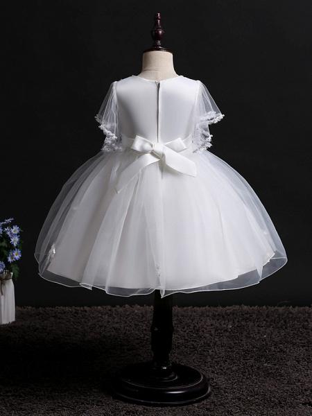 Princess Midi Wedding / Birthday Satin / Tulle Sleeveless Jewel Neck With Bow(S) / Pearls / Beading_2