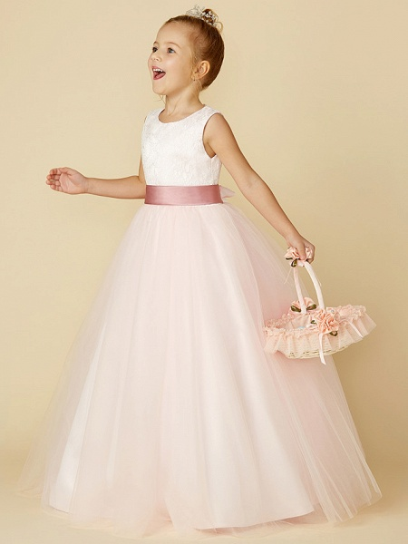 Princess Floor Length Wedding / Birthday / Pageant Flower Girl Dresses - Satin / Tulle Sleeveless Jewel Neck With Lace / Appliques_3