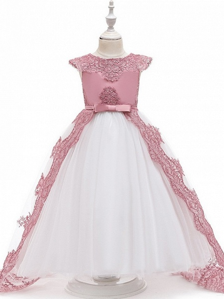 Princess / Ball Gown Sweep / Brush Train Wedding / Party Flower Girl Dresses - Satin / Tulle Sleeveless Jewel Neck With Sash / Ribbon / Bow(S) / Appliques_5