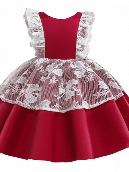 Princess / Ball Gown Knee Length Wedding / Party Flower Girl Dresses - Satin / Tulle Cap Sleeve Jewel Neck With Bow(S) / Color Block_7