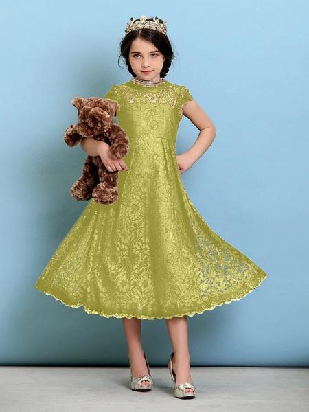 Princess / A-Line Jewel Neck Tea Length Lace Junior Bridesmaid Dress With Pleats / Natural_19