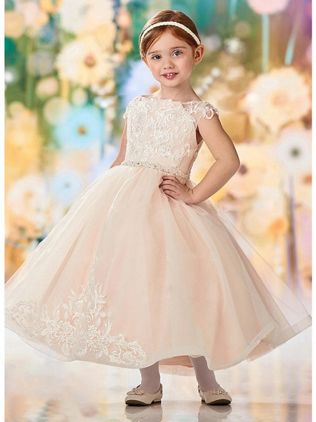 A-Line Ankle Length Wedding / Party Flower Girl Dresses - Lace / Tulle Sleeveless Jewel Neck With Embroidery / Appliques_1