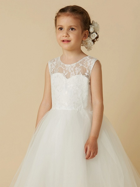 Princess Tea Length Wedding / First Communion Flower Girl Dresses - Lace / Tulle Sleeveless Jewel Neck With Lace_4