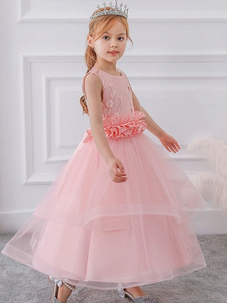 Princess / Ball Gown Ankle Length Wedding / Party Flower Girl Dresses - Tulle Sleeveless Jewel Neck With Sash / Ribbon / Bow(S) / Appliques_5