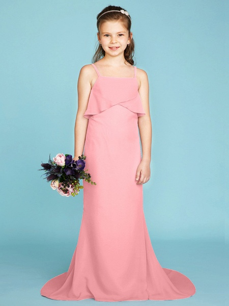 Sheath / Column Spaghetti Strap Sweep / Brush Train Chiffon Junior Bridesmaid Dress With Tiered / Wedding Party / Open Back_21