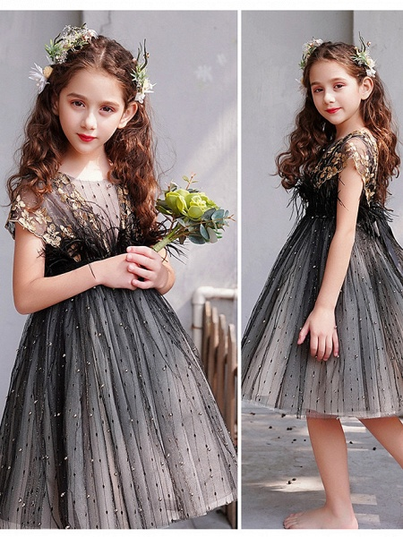 A-Line Knee Length Engagement Party / Pageant Flower Girl Dresses - Lace / Tulle Short Sleeve Jewel Neck With Feathers / Fur / Embroidery / Appliques_4