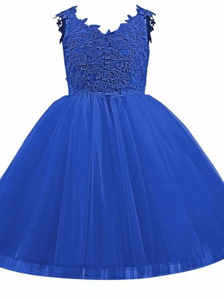 Princess Short Length Wedding / First Communion / Birthday Flower Girl Dresses - Taffeta / Tulle Sleeveless V Neck With Bow(S) / Appliques_9