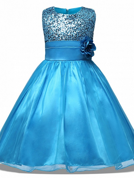 Princess Midi Wedding / Party / Pageant Flower Girl Dresses - Tulle Sleeveless Jewel Neck With Belt / Bow(S) / Appliques_5