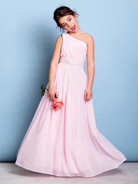 A-Line One Shoulder Floor Length Chiffon Junior Bridesmaid Dress With Sash / Ribbon / Beading / Side Draping / Natural_1