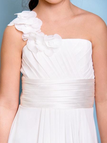 A-Line One Shoulder Floor Length Chiffon Junior Bridesmaid Dress With Sash / Ribbon / Criss Cross / Ruched / Natural_7