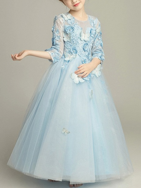 Ball Gown Floor Length Pageant Flower Girl Dresses - Tulle 3/4 Length Sleeve Jewel Neck With Beading / Appliques_3