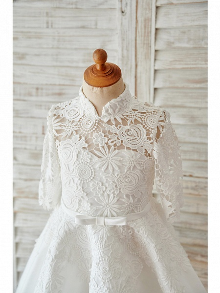 Ball Gown Knee Length Wedding / Birthday Flower Girl Dresses - Lace / Tulle Long Sleeve High Neck With Bows / Sash / Ribbon_3