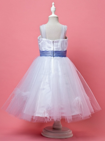 Princess / A-Line Knee Length Tulle Sleeveless Straps With Feathers / Fur / Sash / Ribbon / Ruched_3