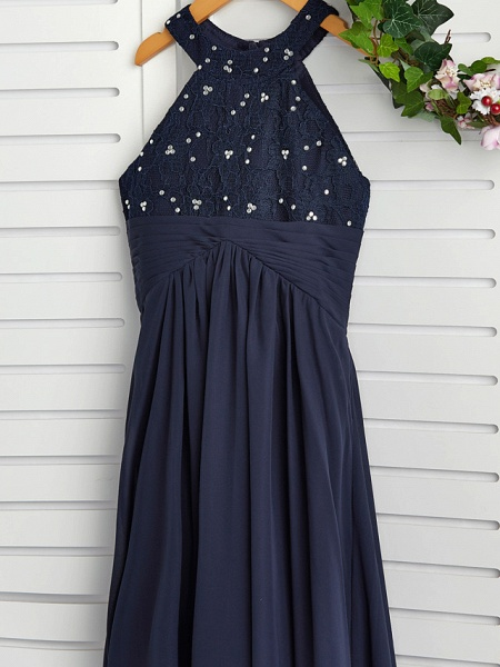 A-Line Jewel Neck Maxi Chiffon Junior Bridesmaid Dress With Pearls / Wedding Party_5