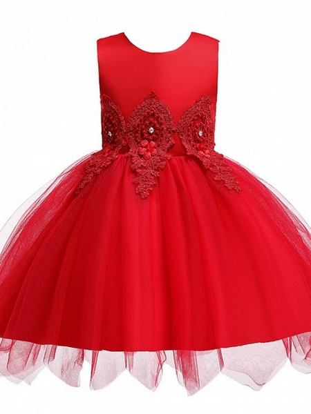 Princess / Ball Gown Knee Length Wedding / Party Flower Girl Dresses - Lace / Satin / Tulle Sleeveless Jewel Neck With Appliques_7
