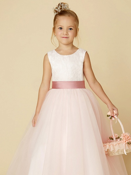 Princess Floor Length Wedding / Birthday / Pageant Flower Girl Dresses - Satin / Tulle Sleeveless Jewel Neck With Lace / Appliques_7