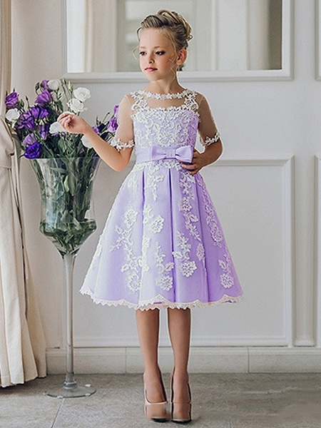 Princess / Ball Gown Knee Length Wedding / Party Flower Girl Dresses - Lace Short Sleeve Jewel Neck With Bow(S) / Appliques_3