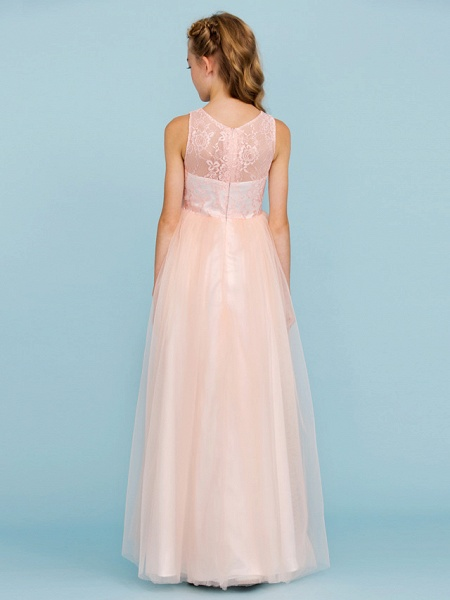 Princess / A-Line Crew Neck Floor Length Lace / Tulle Junior Bridesmaid Dress With Pleats / Wedding Party / See Through_2