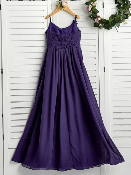 A-Line Spaghetti Strap Floor Length Chiffon Junior Bridesmaid Dress With Appliques / Ruching_2