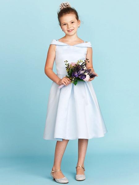 Princess / A-Line Off Shoulder Tea Length Satin Junior Bridesmaid Dress With Pleats_4