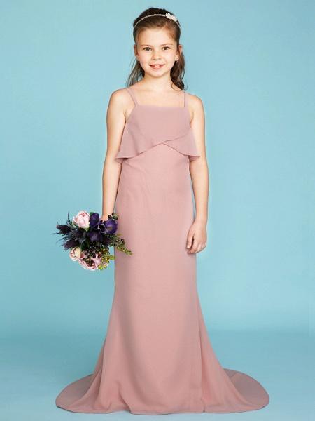 Sheath / Column Spaghetti Strap Sweep / Brush Train Chiffon Junior Bridesmaid Dress With Tiered / Wedding Party / Open Back_1