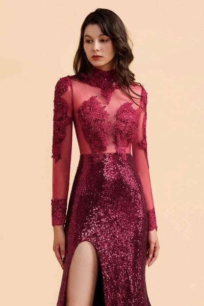 Burgundy Modern High Neck Sexy Split Open back Prom Dress_5