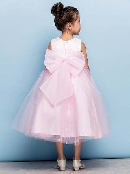 Ball Gown Tea Length Party / Holiday / Cocktail Party Flower Girl Dresses - Tulle Sleeveless V Neck With Criss Cross / Pearls / Beading / Formal Evening / Mini Me_7