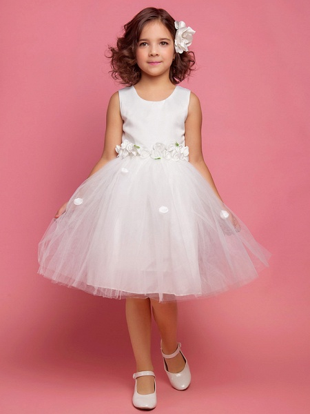 Princess / Ball Gown / A-Line Knee Length First Communion / Wedding Party Lace / Organza / Satin Sleeveless Scoop Neck With Bow(S) / Draping / Flower / Spring / Summer / Fall_1