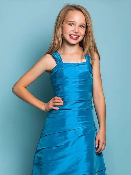 Princess / A-Line Straps Floor Length Taffeta Junior Bridesmaid Dress With Side Draping / Spring / Summer / Fall / Apple / Hourglass_5