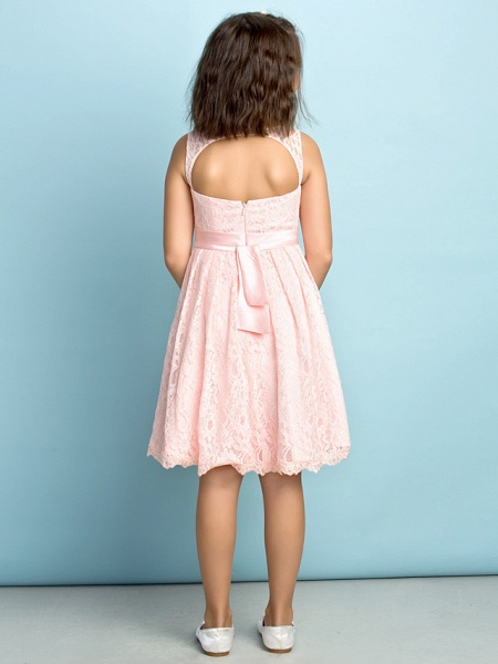 A-Line Scoop Neck Knee Length All Over Floral Lace Junior Bridesmaid Dress With Lace / Natural / Mini Me_4