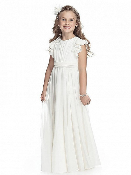 A-Line Round Neck Floor Length Chiffon Junior Bridesmaid Dress With Sash / Ribbon / First Communion_1