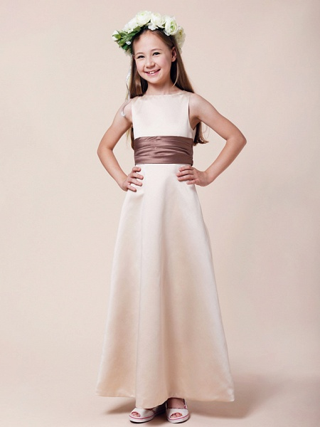 Princess / A-Line Bateau Neck Floor Length Satin Junior Bridesmaid Dress With Sash / Ribbon / Ruched / Spring / Summer / Fall / Winter / Apple_6