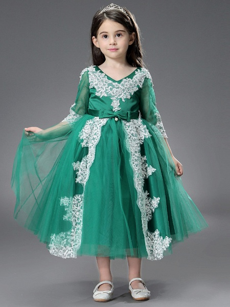 Princess / Ball Gown Ankle Length / Royal Length Train Wedding / Formal Evening Flower Girl Dresses - Tulle / Matte Satin Long Sleeve Jewel Neck With Beading / Appliques / Split Front_1