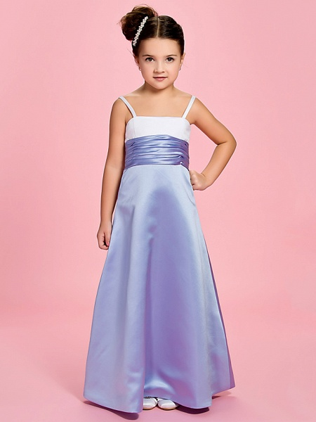 Princess / A-Line Ankle Length First Communion / Wedding Party Satin Straps With Ruched / Spring / Summer / Fall_1