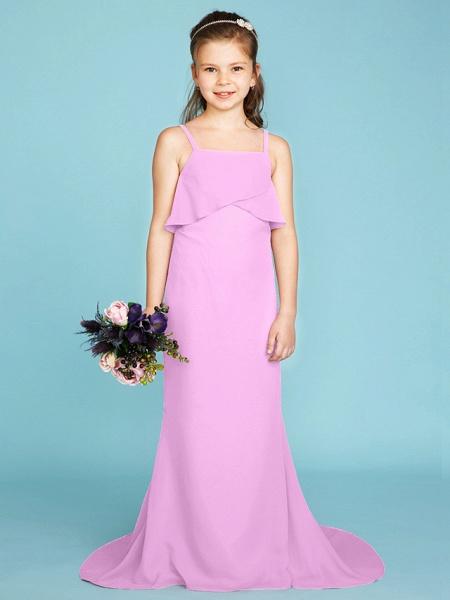 Sheath / Column Spaghetti Strap Sweep / Brush Train Chiffon Junior Bridesmaid Dress With Tiered / Wedding Party / Open Back_22