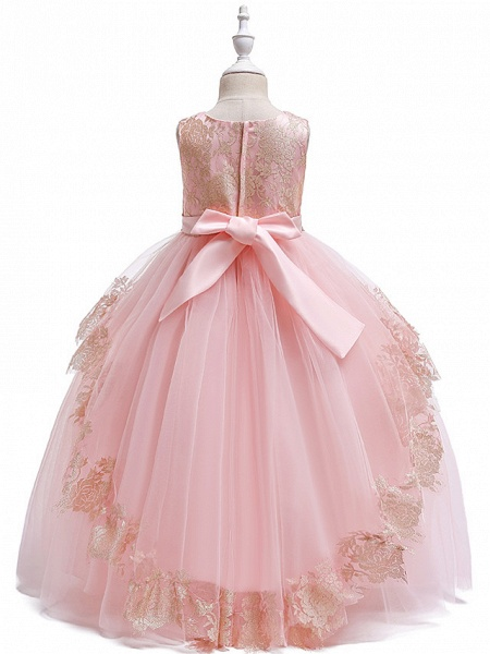 Princess Floor Length Wedding / Party / Pageant Flower Girl Dresses - Lace / Satin / Tulle Sleeveless Jewel Neck With Belt / Crystals / Beading_4