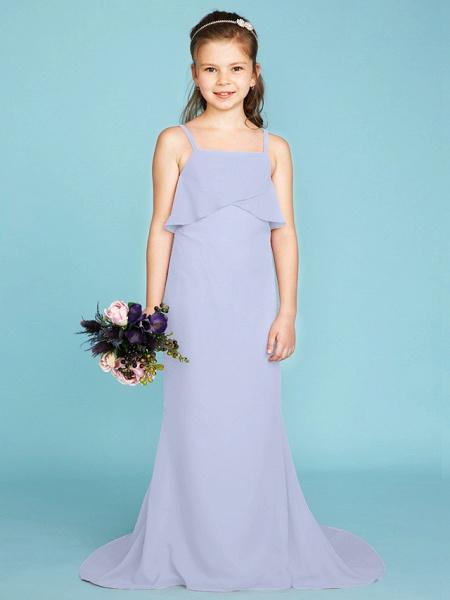 Sheath / Column Spaghetti Strap Sweep / Brush Train Chiffon Junior Bridesmaid Dress With Tiered / Wedding Party / Open Back_49